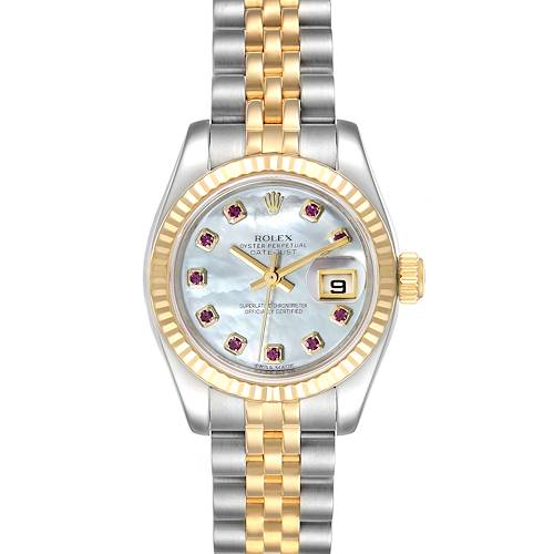 Photo of Rolex Datejust Steel Yellow Gold MOP Ruby Ladies Watch 179173 Box Card