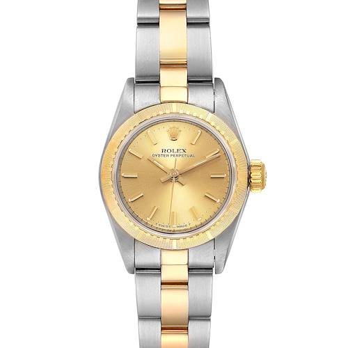 Photo of Rolex Oyster Perpetual NonDate Ladies Steel Yellow Gold Watch 67243