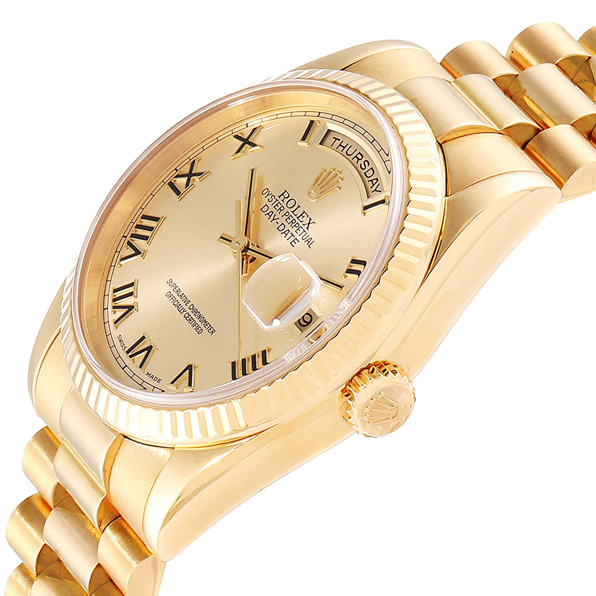Rolex President Day Date 18K Yellow Gold Mens Watch 118238 Box Papers SwissWatchExpo