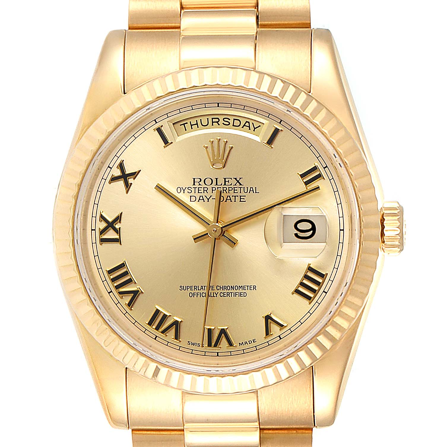 Rolex President Day Date 18K Yellow Gold Mens Watch 118238 Box Papers