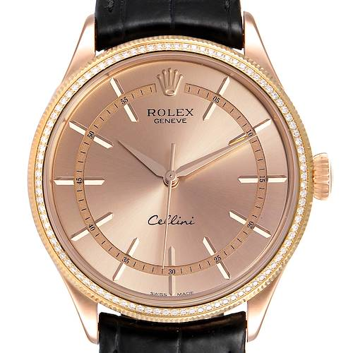 Photo of Rolex Cellini Everose Gold Diamond Automatic Mens Watch 50705