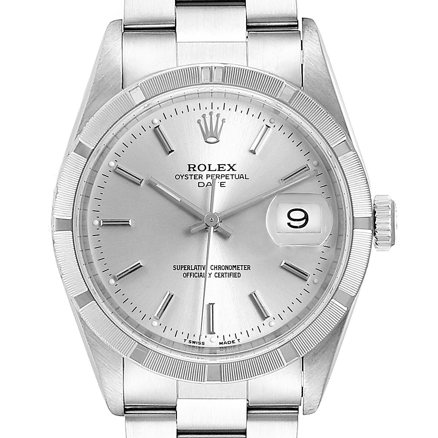 Rolex Date Silver Dial Oyster Bracelet Steel Mens Watch 15210 Box Papers SwissWatchExpo