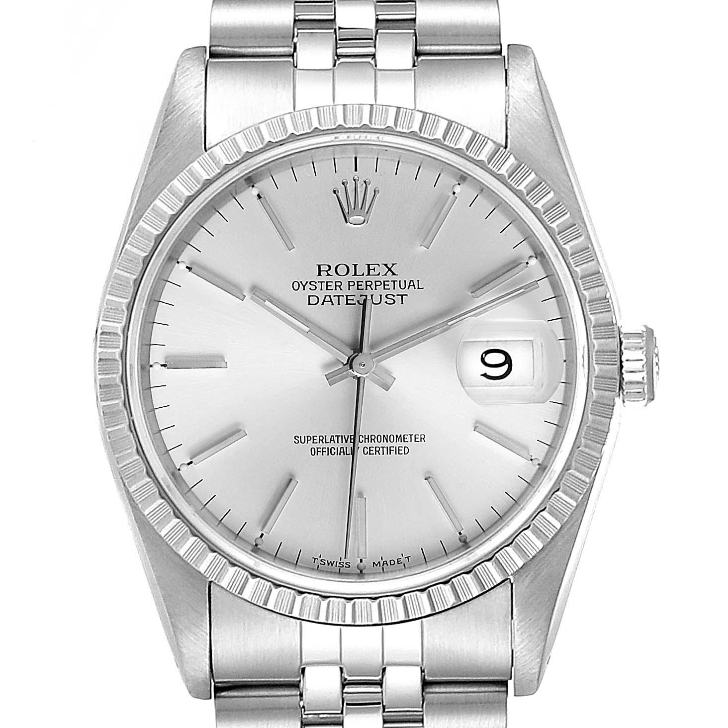 Rolex Datejust Silver Dial Jubilee Bracelet Steel Mens Watch 16220