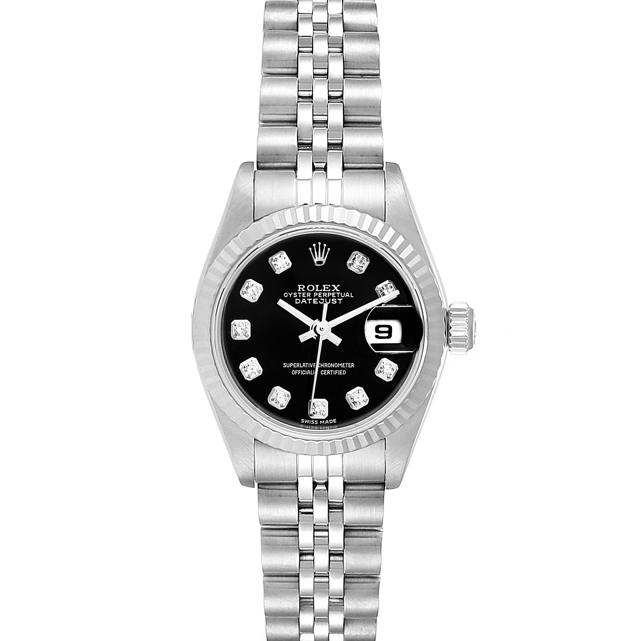 Rolex Datejust Steel White Gold Black Diamond Dial Ladies Watch 79174