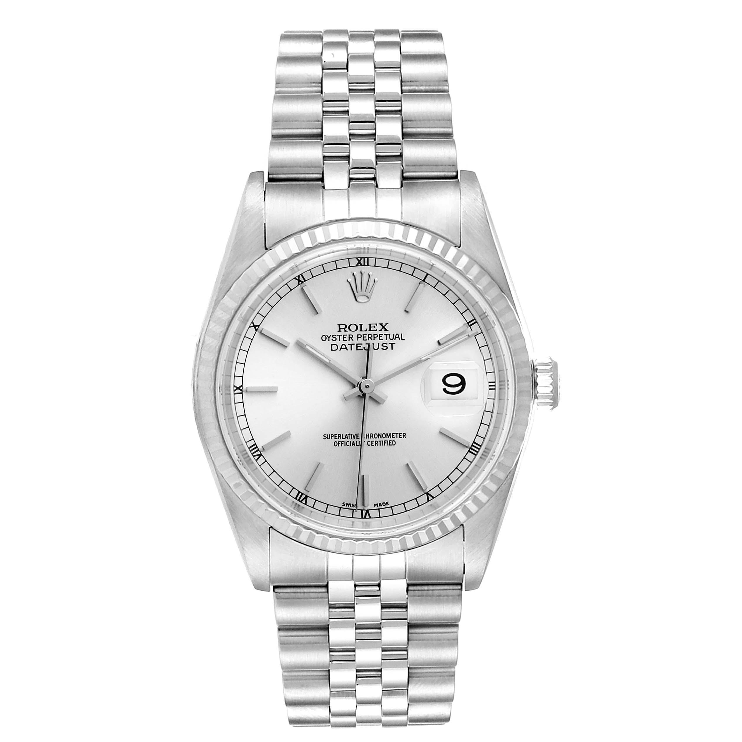 Rolex Datejust Steel White Gold Silver Baton Dial Mens Watch 16234 SwissWatchExpo