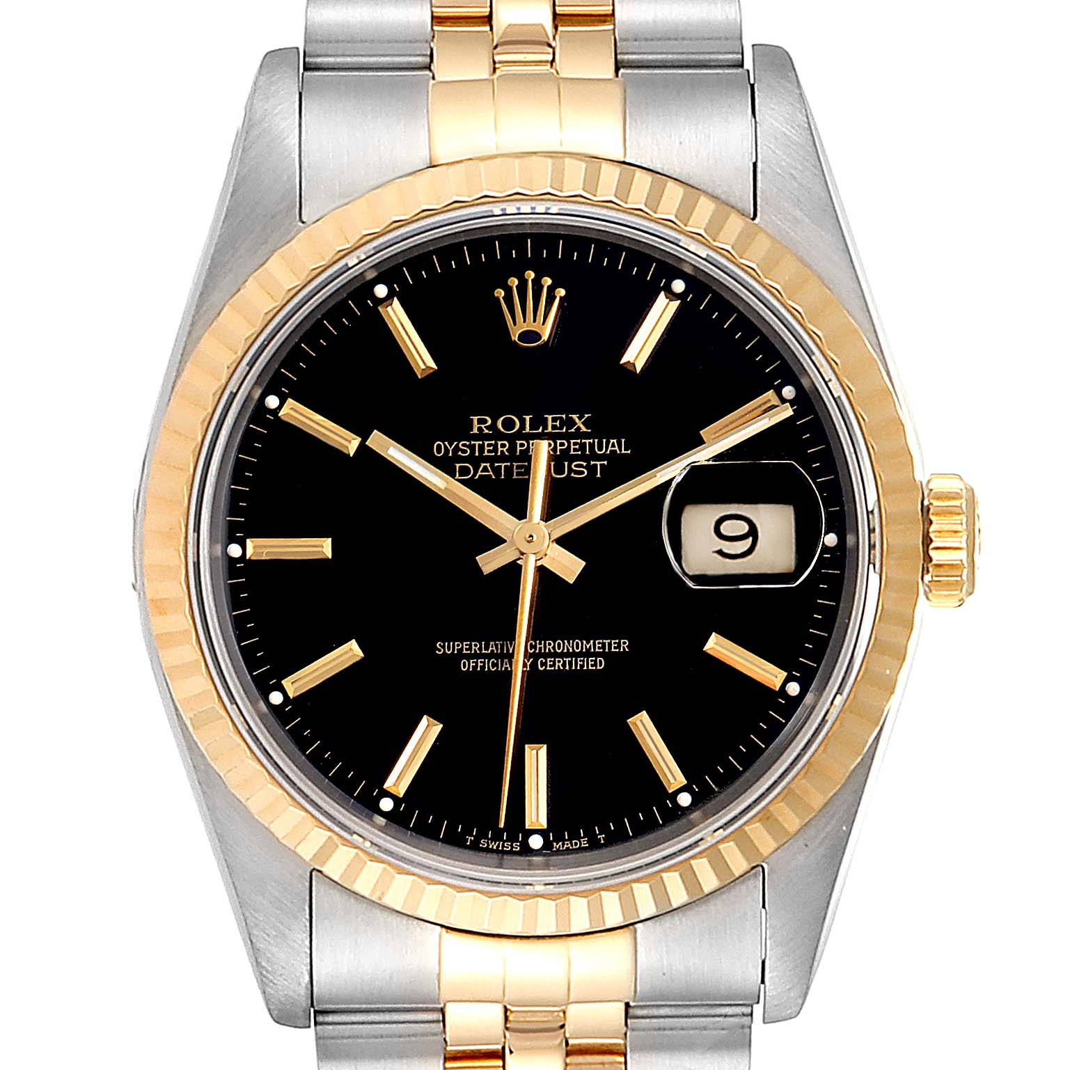 Rolex Datejust Steel Yellow Gold Black Dial Mens Watch 16233