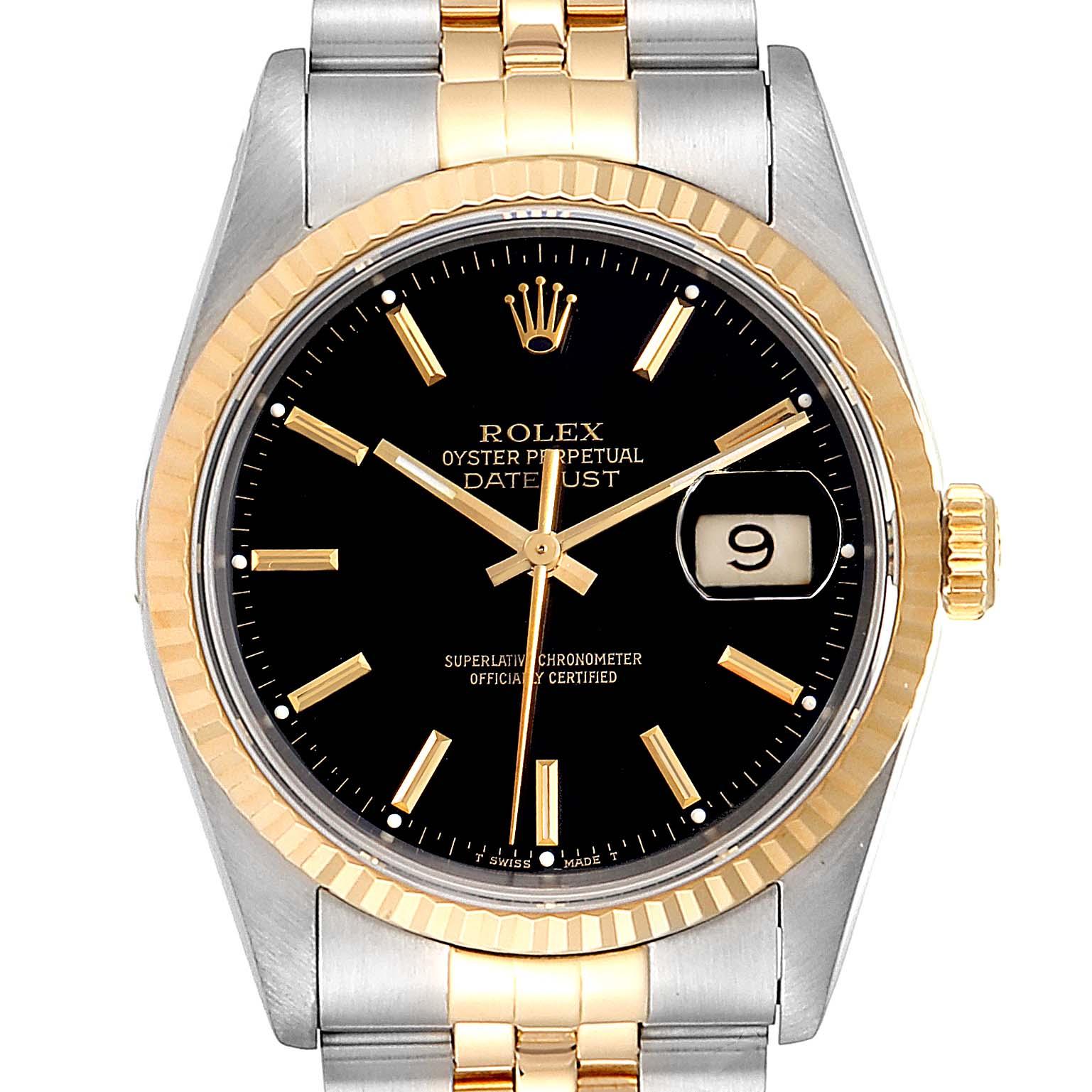 Rolex Datejust Steel Yellow Gold Black Dial Mens Watch 16233 SwissWatchExpo