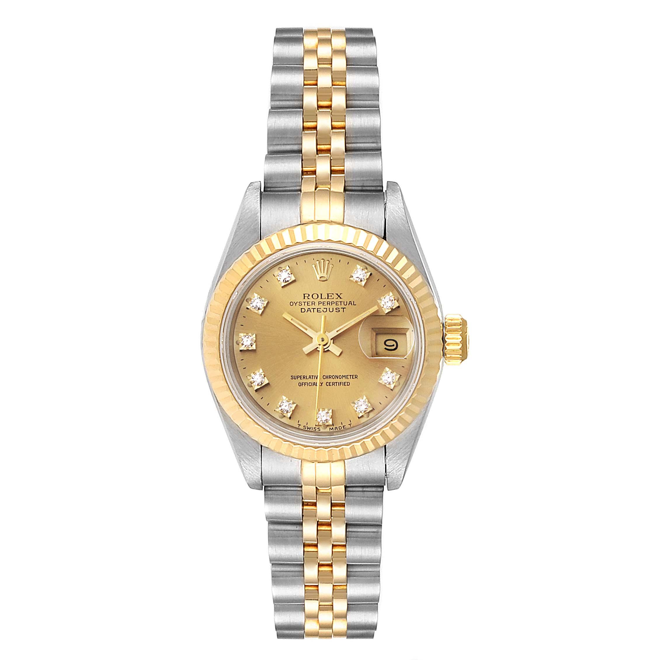 Rolex Datejust Steel Yellow Gold Diamond Dial Ladies Watch 69173 Box Papers SwissWatchExpo