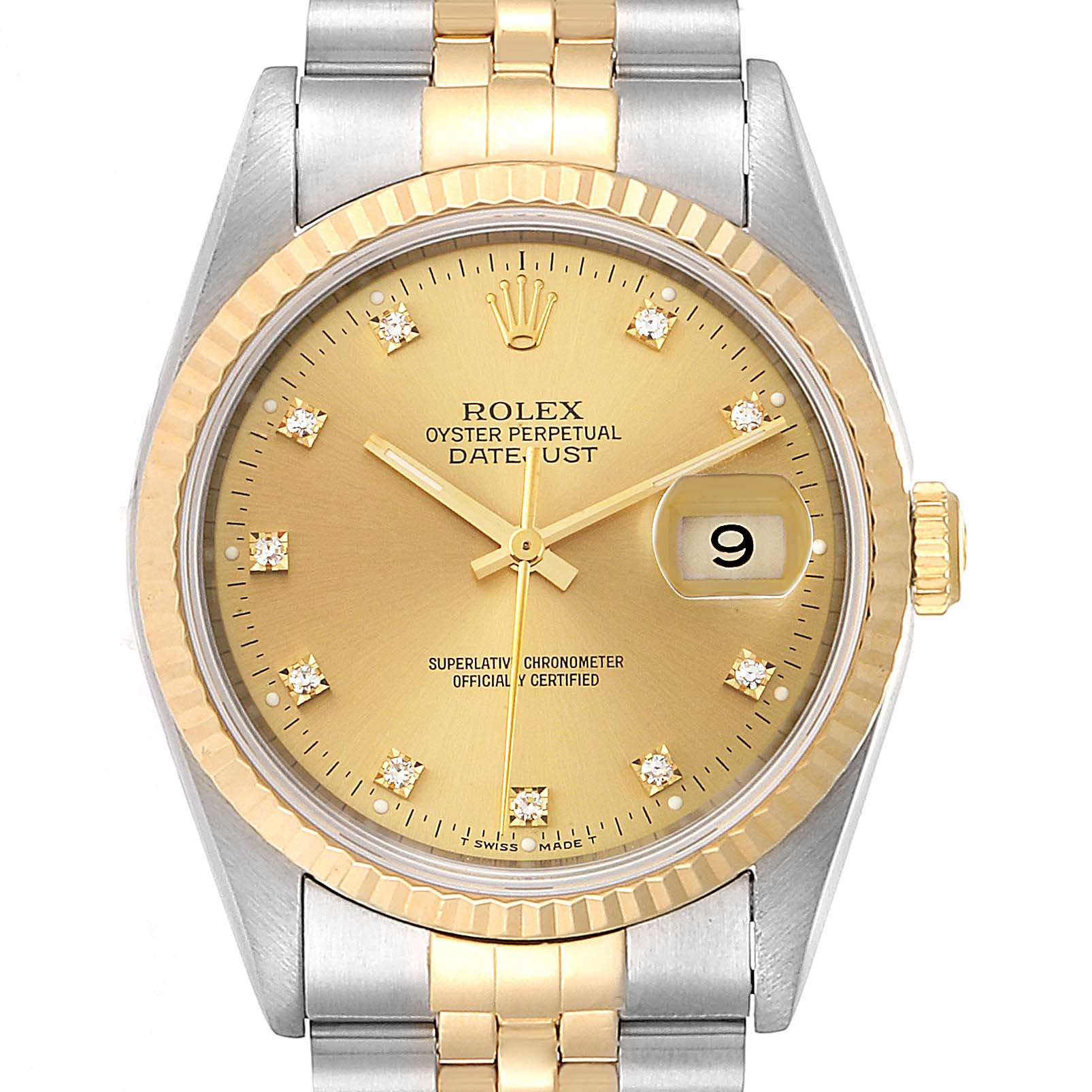 Rolex Datejust Steel Yellow Gold Diamond Mens Watch 16233 Box Papers