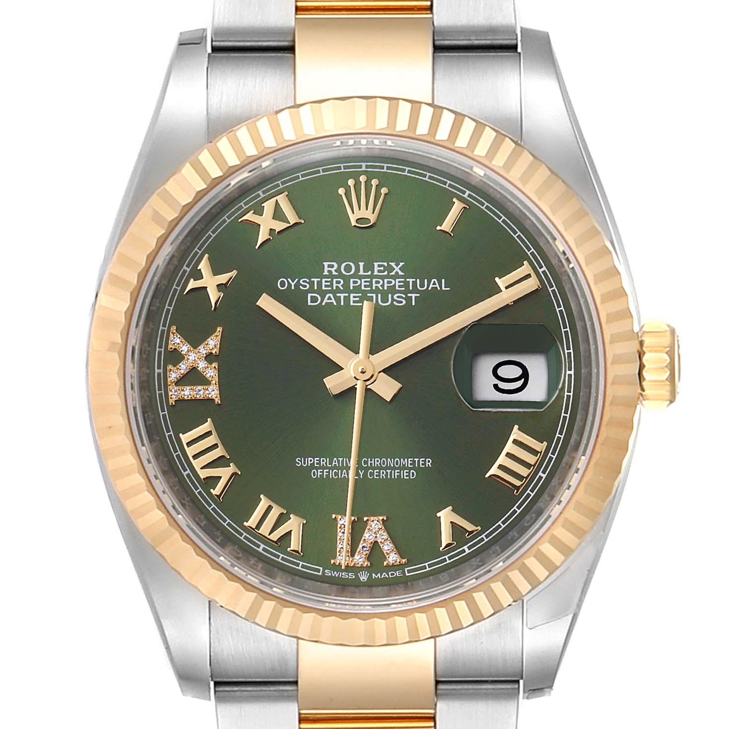 Rolex Datejust Steel Yellow Gold Green Diamond Dial Watch 126233 Unworn