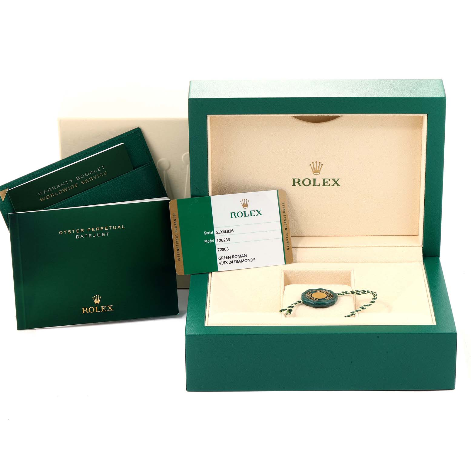 Rolex Datejust Steel Yellow Gold Green Diamond Dial Watch 126233 Unworn SwissWatchExpo
