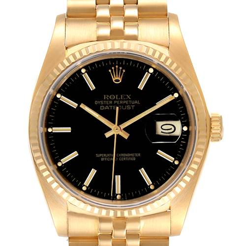 Photo of Rolex Datejust Vintage Yellow Gold Black Dial Mens Watch 16018 Box Papers