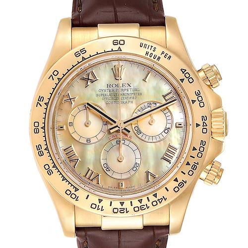 Photo of Rolex Daytona Yellow Gold Mother of Pearl Dial Mens Watch 116518