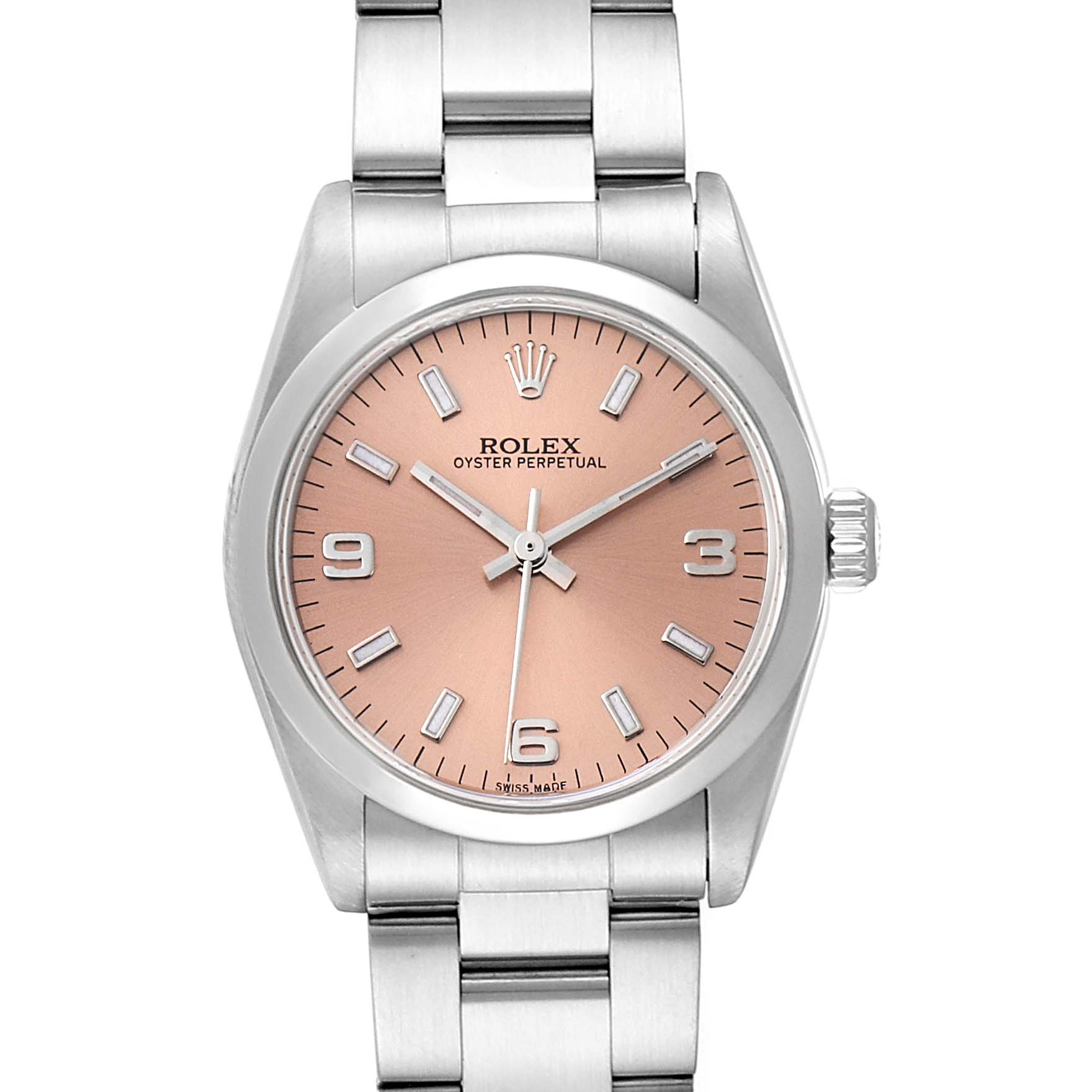 Rolex Midsize Salmon Dial Domed Bezel Steel Ladies Watch 77080 Box Papers