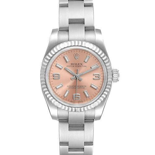Photo of Rolex Nondate Steel White Gold Salmon Dial Ladies Watch 176234 Box Card