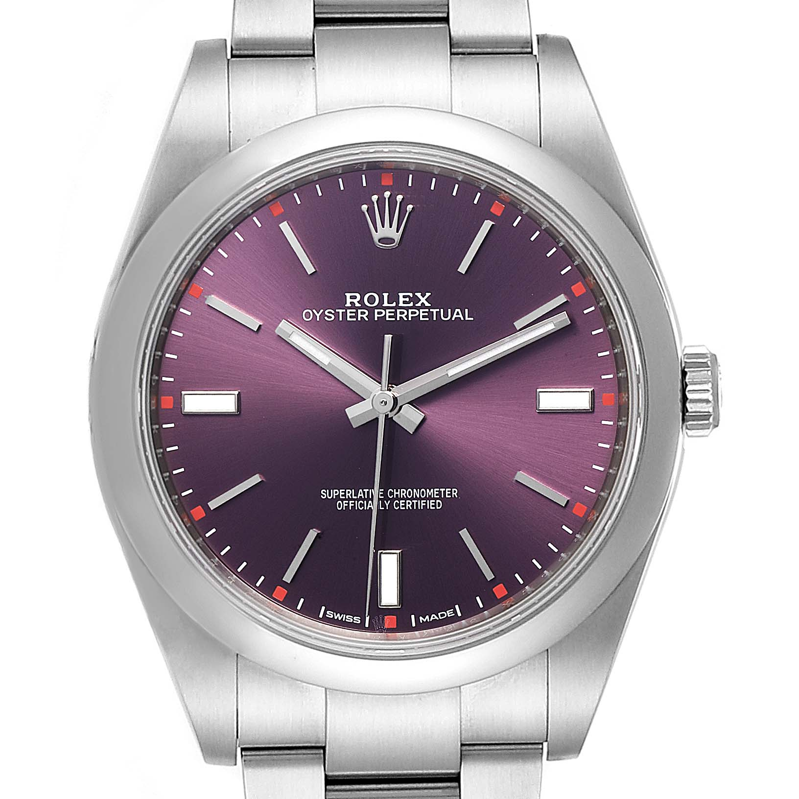 Rolex Oyster Perpetual Red Grape Dial Steel Mens Watch 114300 Box Card
