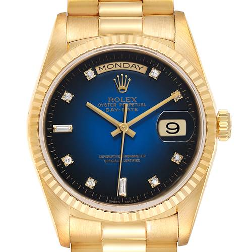 Photo of Rolex President Day-Date Yellow Gold Vignette Diamond Dial Mens Watch 18238