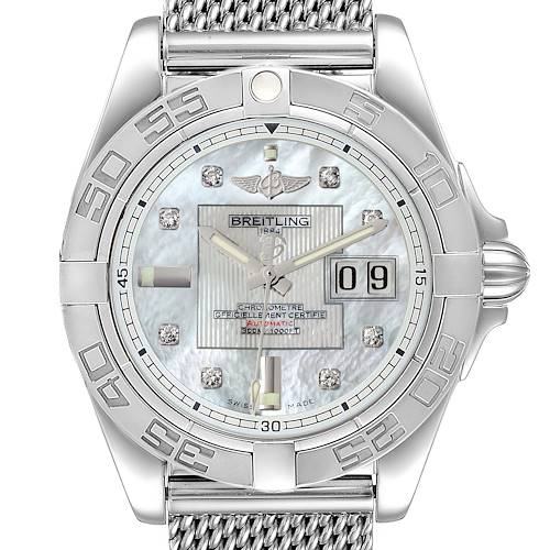 Photo of Breitling Windrider Cockpit 41 Steel Mother of Pearl Diamond Watch A49350
