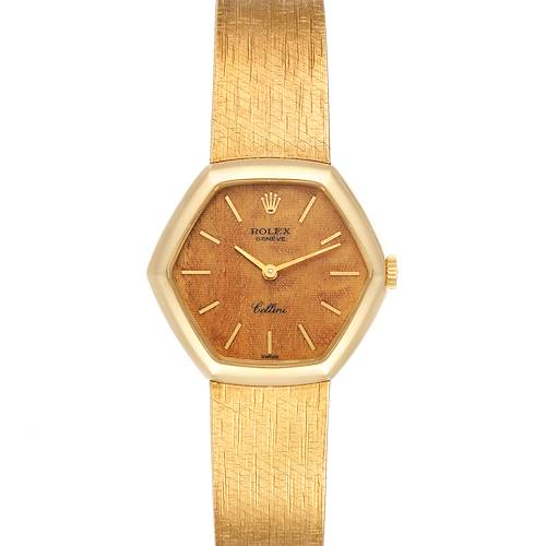 Photo of Rolex Cellini 18k Yellow Gold Wooden Dial Vintage Cocktail Ladies Watch 4303