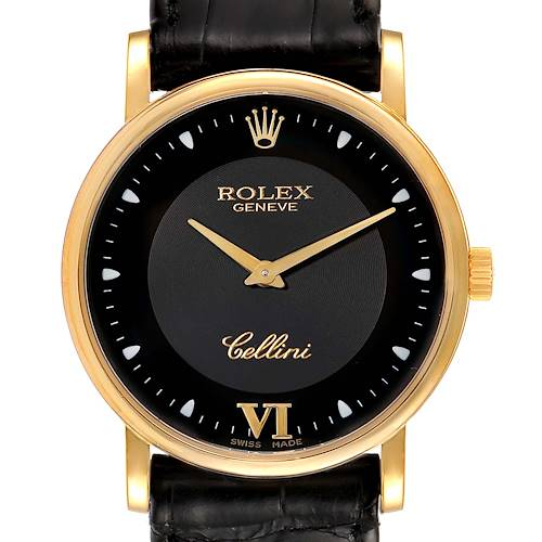 Photo of Rolex Cellini Classic 18k Yellow Gold Black Dial Unisex Watch 5115