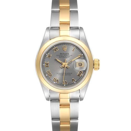 Photo of Rolex Datejust Steel Yellow Gold Slate Roman Dial Ladies Watch 69163