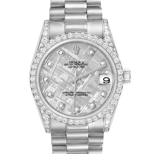Photo of Rolex President Datejust Midsize White Gold Meteorite Diamond Dial Watch 78159
