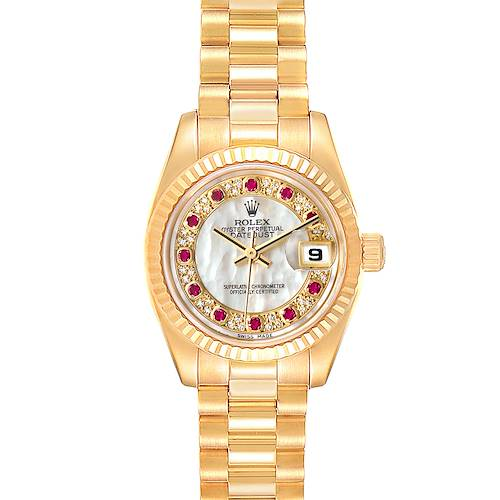 Photo of Rolex President Datejust Yellow Gold MOP Myriad Diamond Ruby Ladies Watch 179178 Box Papers