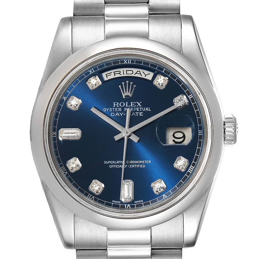 Rolex President Day-Date Platinum Blue Diamond Dial Mens Watch 118206 SwissWatchExpo