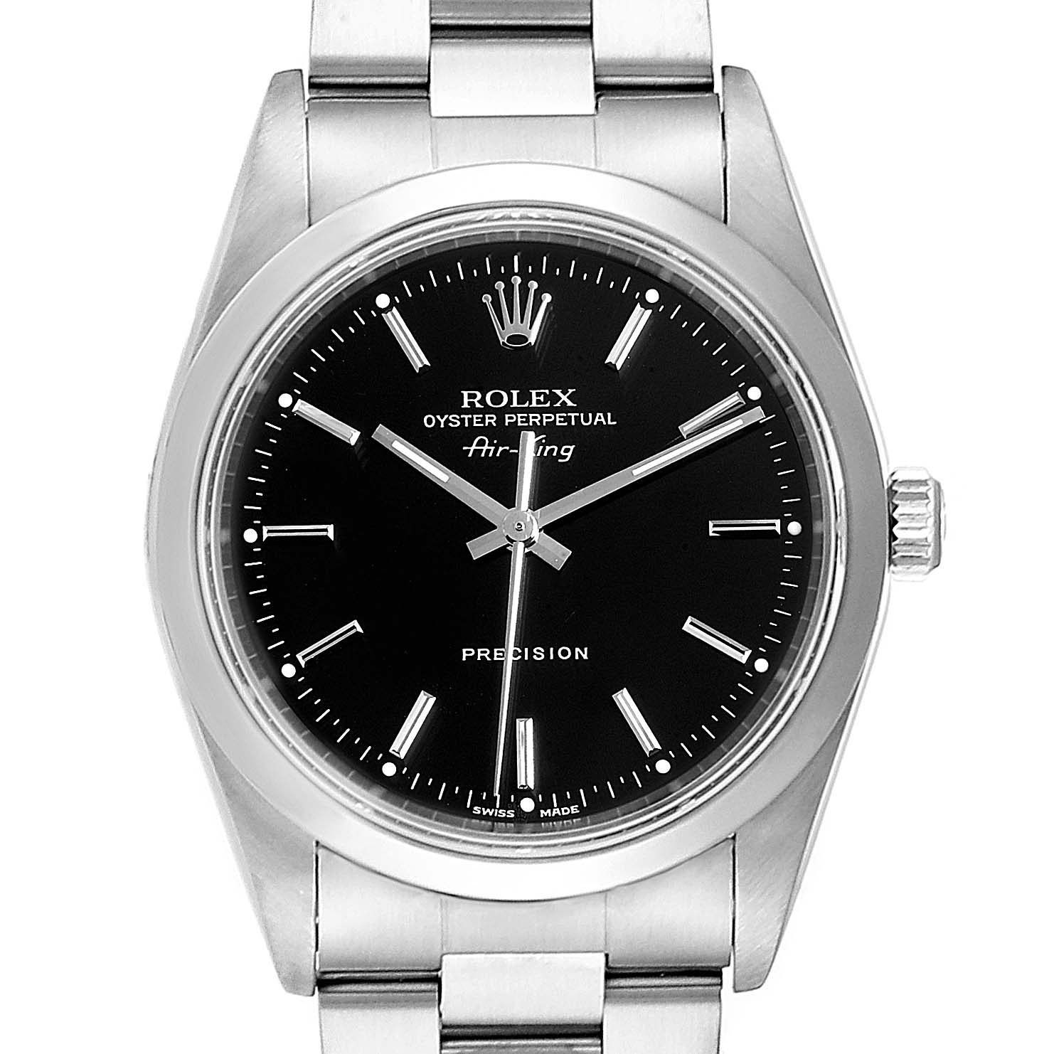 Rolex Air King Black Dial Domed Bezel Steel Mens Watch 14000 Box Papers