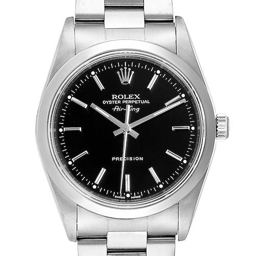 Photo of Rolex Air King Black Dial Domed Bezel Steel Mens Watch 14000 Box Papers
