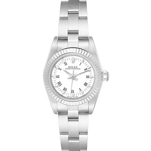 Photo of Rolex Oyster Perpetual Steel White Gold Ladies Watch 76094 Box Papers