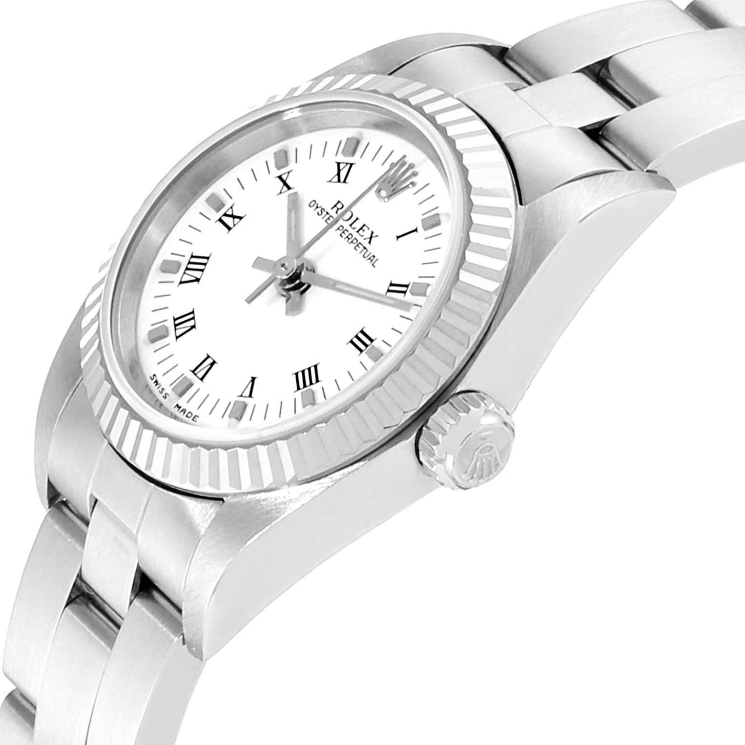 Rolex Oyster Perpetual Steel White Gold Ladies Watch 76094 Box Papers SwissWatchExpo