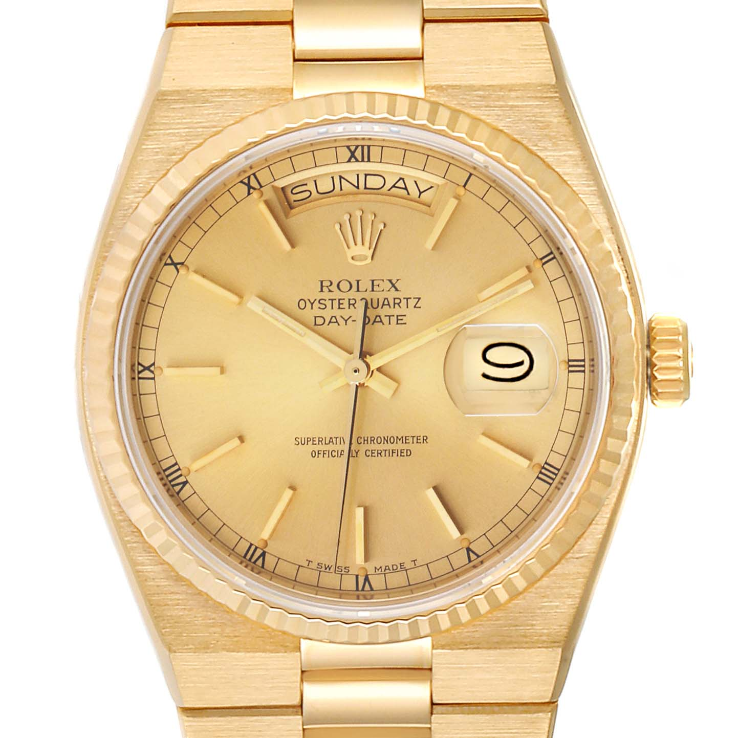 Rolex Oysterquartz President Day-Date Yellow Gold Watch 19018 Box Papers