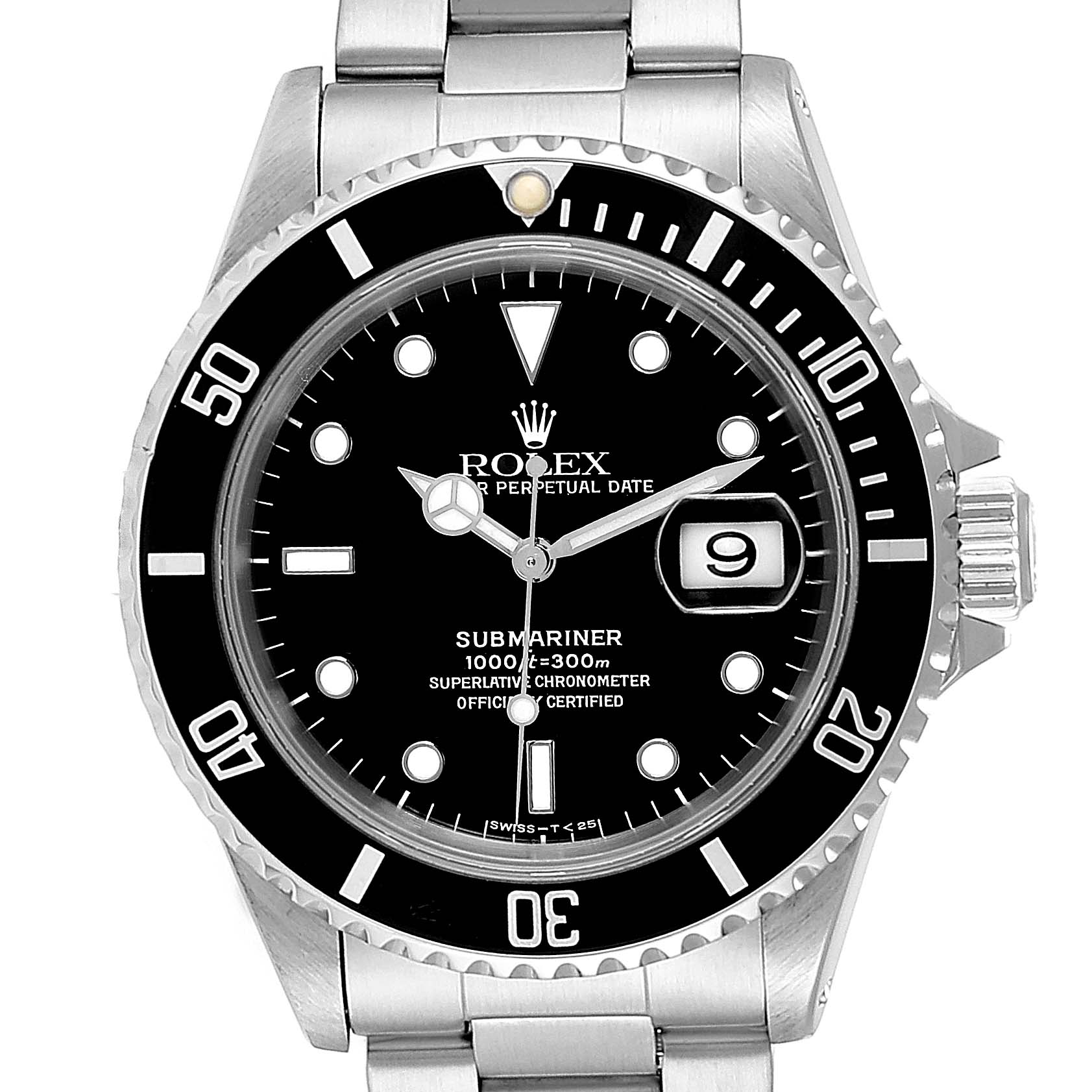 Rolex Submariner 40mm Black Dial Steel Mens Watch 16610 Box Papers