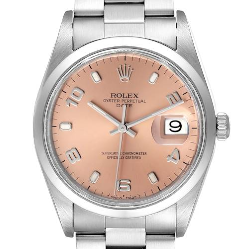 Photo of Rolex Date Salmon Dial Oyster Bracelet Steel Mens Watch 15200