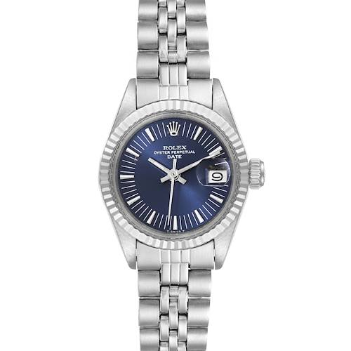 Photo of Rolex Date Stainless Steel Blue Dial Fluted Bezel Ladies Watch 6917