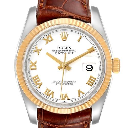Photo of Rolex Datejust Steel Yellow Gold White Dial Mens Watch 116233