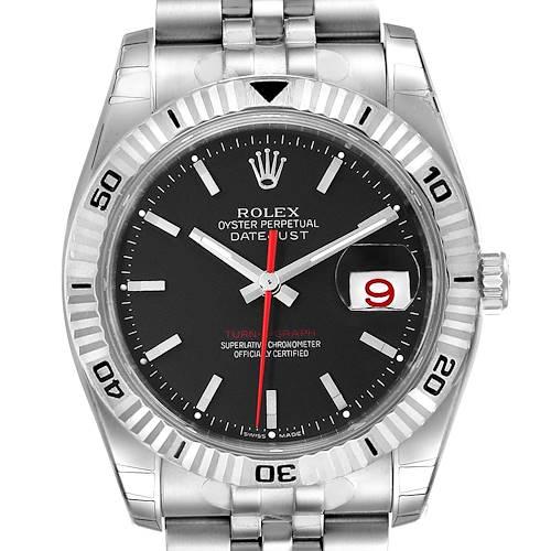 Photo of Rolex Datejust Turnograph Black Dial Steel Mens Watch 116264 Unworn NOS
