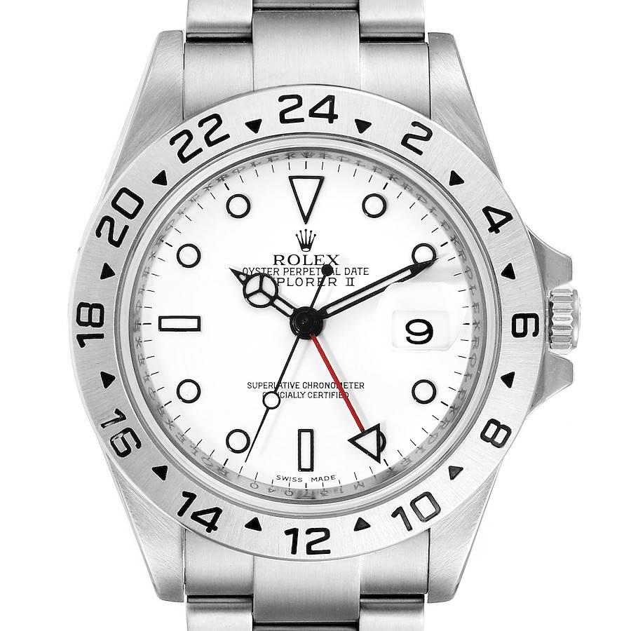 Rolex Explorer II 40mm White Dial Parachrom Hairspring Mens Watch 16570 SwissWatchExpo