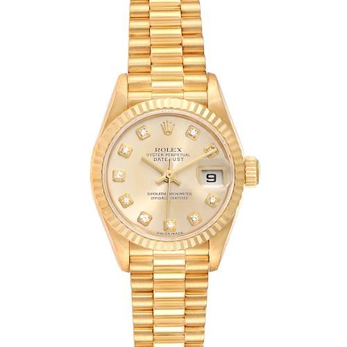 Photo of Rolex President Datejust Yellow Gold Diamond Dial Ladies Watch 79178 Box