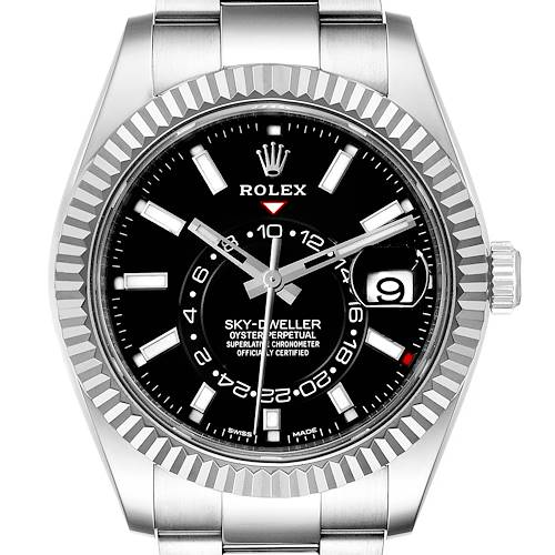 Photo of Rolex Sky-Dweller Black Dial Steel White Gold Mens Watch 326934 Box Papers