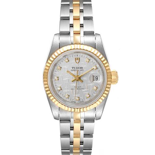 Photo of Tudor Princess Date Steel Yellow Gold Silver Diamond Dial Ladies Watch 92413