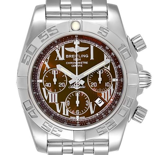 Photo of Breitling Chronomat 01 Bronze Dial Steel Mens Watch AB0110 Box Papers