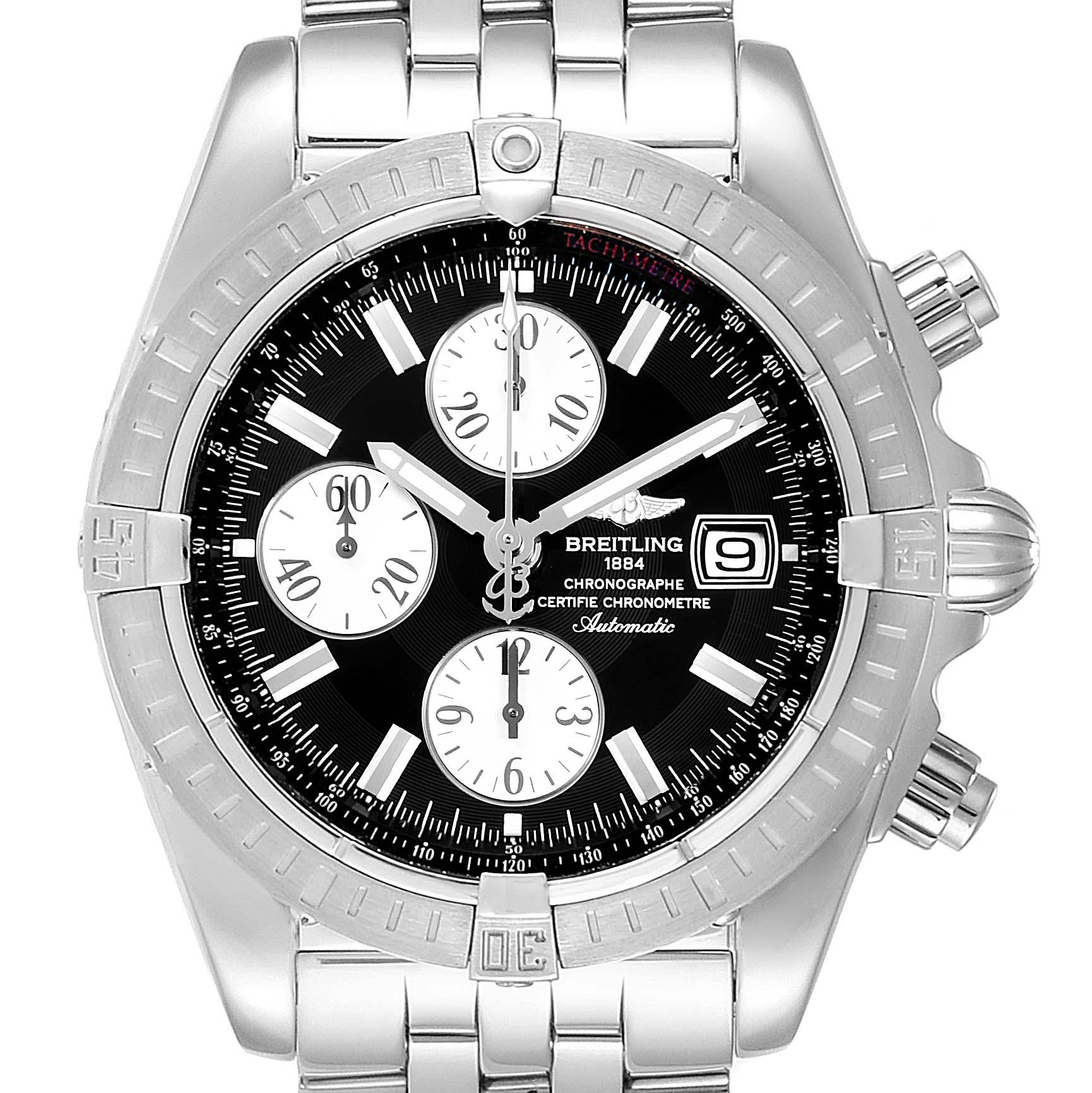Breitling Chronomat Evolution Steel Black Dial Steel Mens Watch A13356 SwissWatchExpo