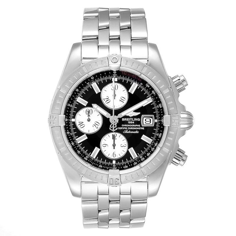 Breitling Chronomat Evolution Steel Black Dial Steel Mens Watch A13356 SwissWatchExpo