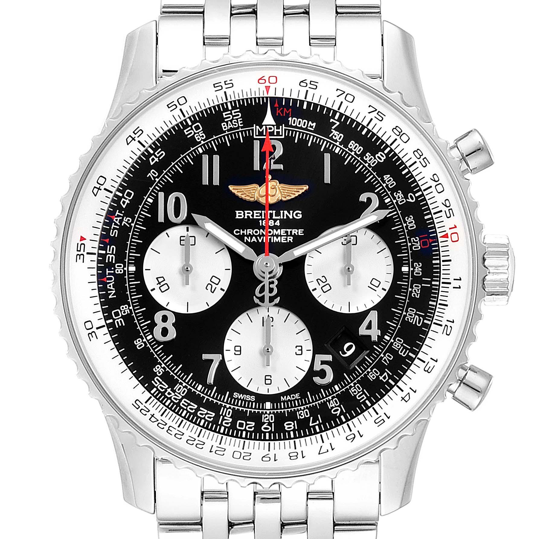 Breitling Navitimer 01 Black Dial Steel Mens Watch AB0120