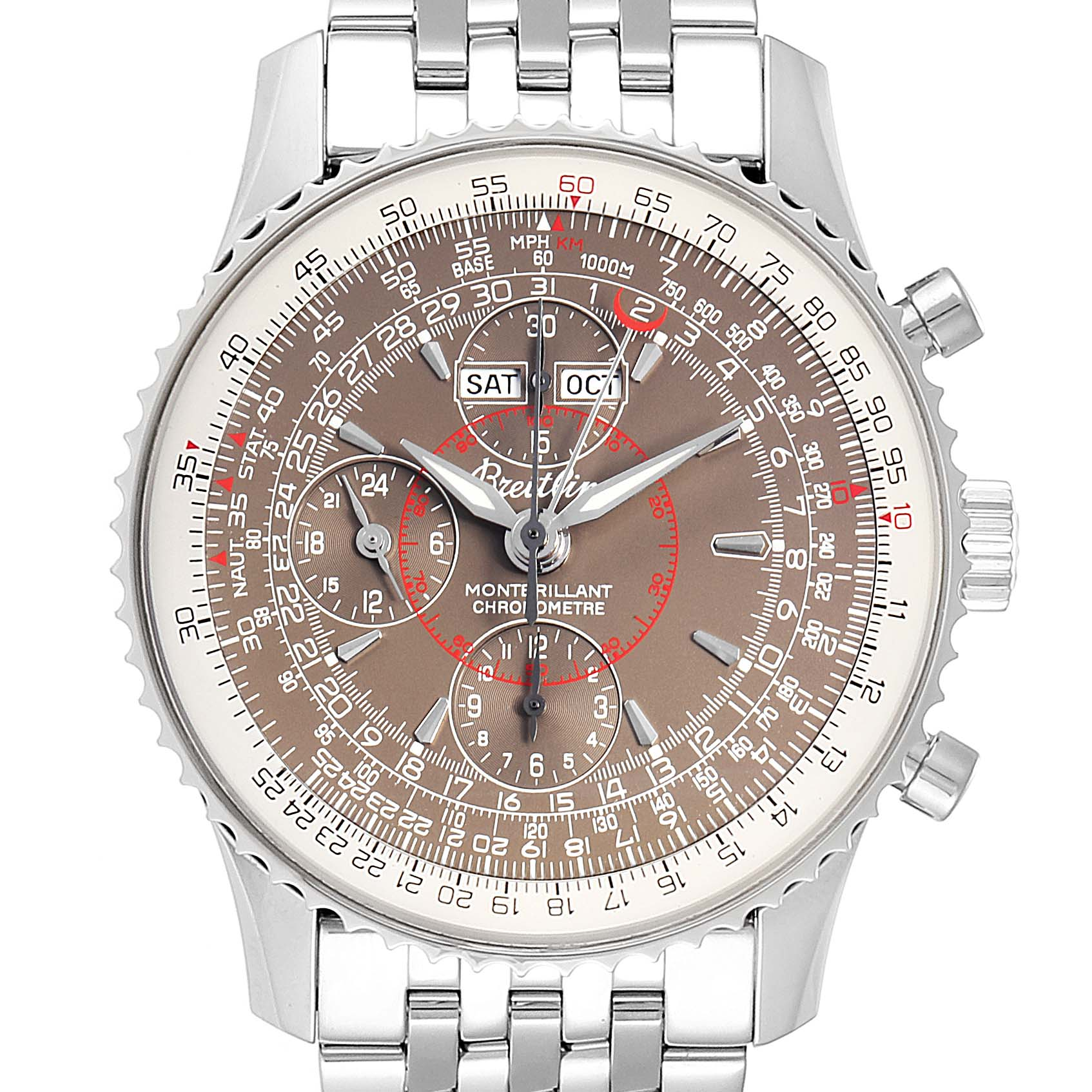 Breitling Navitimer Montbrillant Datora Steel Mens Watch A21330 Box Papers