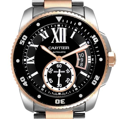 Photo of Cartier Calibre Diver Steel Rose Gold Black Dial Mens Watch W7100054 Box Papers