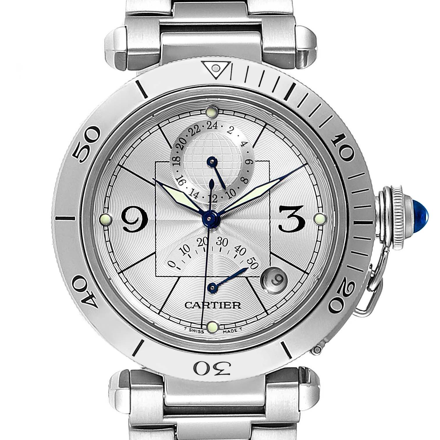 Cartier Pasha Power Reserve GMT Mens Watch W31037H3 Box Papers