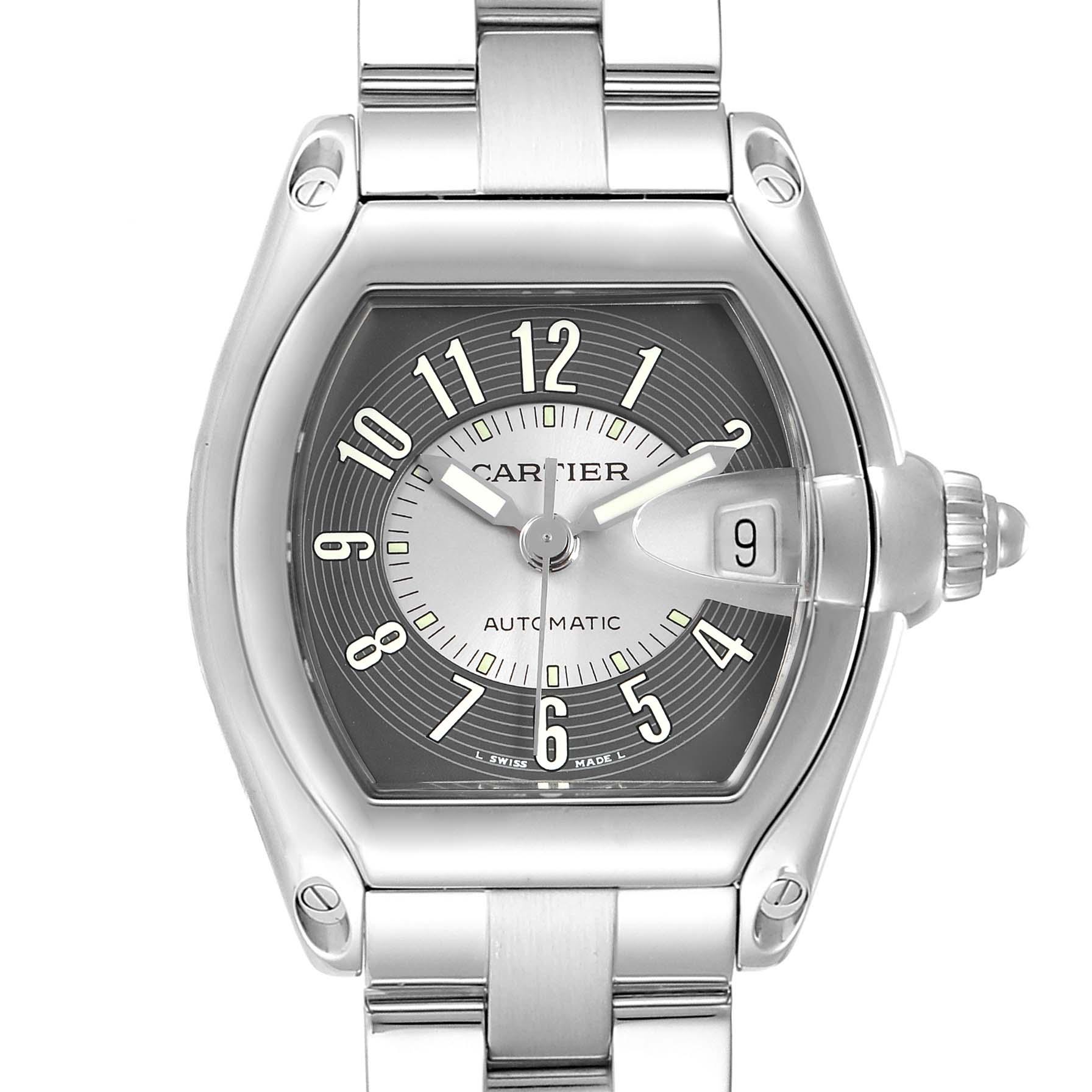 Cartier Roadster Black Silver Tuxedo Dial Steel Mens Watch W62041V3